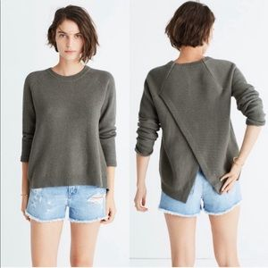 MADEWELL Province Cross Back Green Knit Sweater